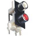 Conector RCA Hembra Doble Acodado para Pcb