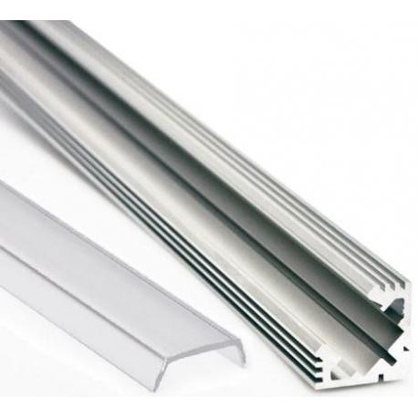 Perfil angular 45º de Aluminio Anodizado transparente