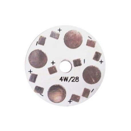 PCB redondo 28mm 4 Led Lumiled