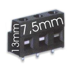 Borna 3Pin 13mm7.5mm negro