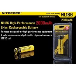 Bateria Nitecore Protegida NL186 3.7v 2.600mA.