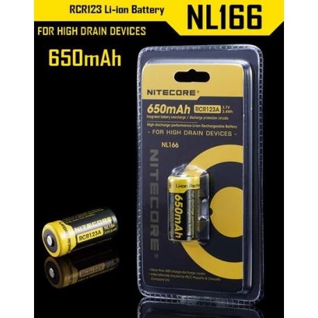 Bateria Nitecore Protegida RCR123 NL166 3.7v 650mA.