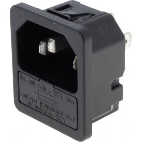 Base enchufe IEC-C14 macho con porta fusible 2200