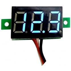 Mini Voltimetro Led 0-30v. Azul 3 cables de panel
