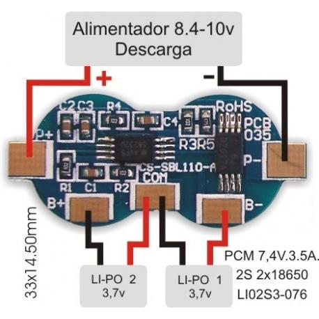 PCM Li-Po 2x18650-7.4v-3.5A.LI02S3-076