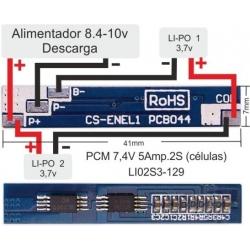 PCM 2S para Baterías de Litio-Li-Po de 7.4v
