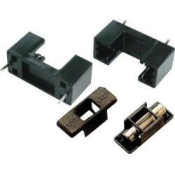 Portafusible 5x20mm con tapa negra