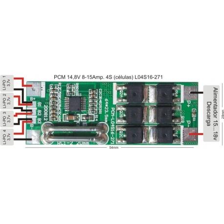 PCM para Baterías Li-Po 14.8V 8-15A. L04S16-271