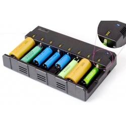 Multi Cargador de sobremesa de Baterias de 8 bahías