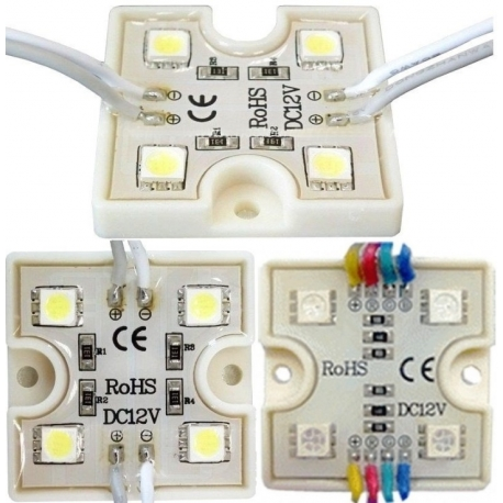 Modulo 4 led 5050 smd resina 36x36x5mm