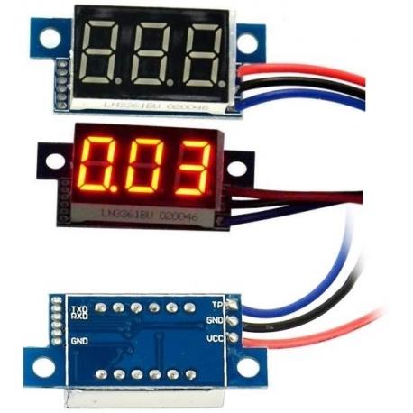 Mini Voltimetro Led 0-100v. de panel 3 cables