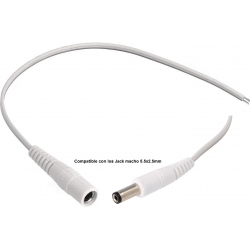 Conector Jack Hembra 5.5-2.5mm con Cable Blanco