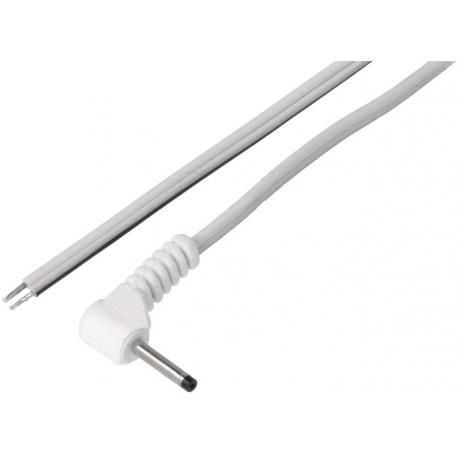 Conector cableado Jack macho de alimentación 2.35-0.7mm Blanco