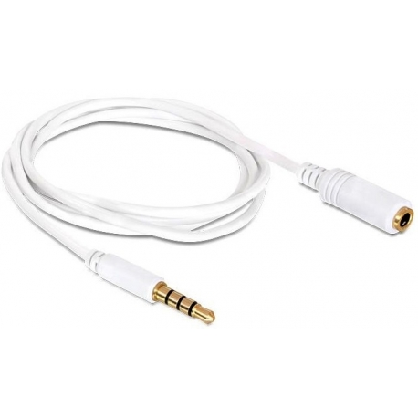 Cable Jack 3.5 4 pin macho-hembra Blanco