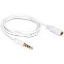 Cable Alargador Jack 3.5 Macho-Hembra 4 Pin Blanco