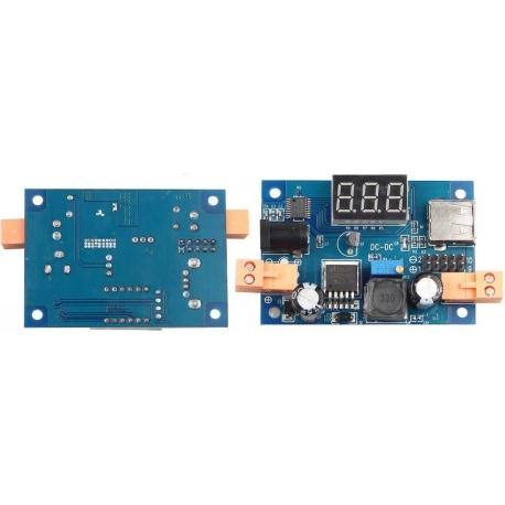 Fuente Dc-Dc.1.25-36v 2A LM2596 con Dígitos Led 23x14mm y USB