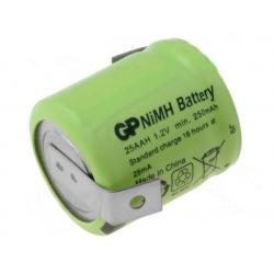 Batería NI-MH Recargable 1.2v. 250mA con lengueta