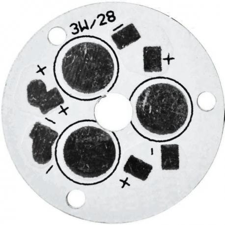 PCB redondo 28mm 3 Led Lumiled