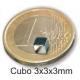 Imanes cubos de Neodimio 3x3x3mm