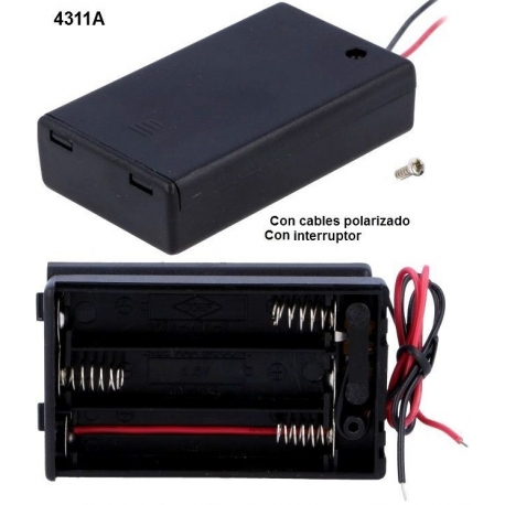 Portapilas con tapa+switch 3xAAA, LR03, R3, 10440