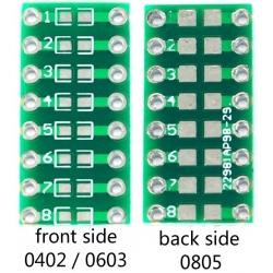 Pcb adaptador Componentes SMD 0402-0603-0805 a Dip2