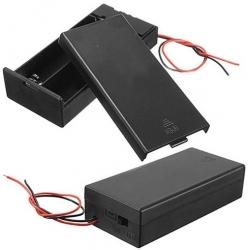 Portapilas baterías 2x18650 con tapa y cables