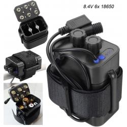 Porta-baterías 6x18650 con cables USB