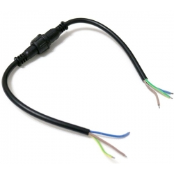 Juego Conector IP65 23mm Negro 3pin con cable