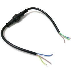 Juego Conector IP65 23mm Negro 3pin con cable