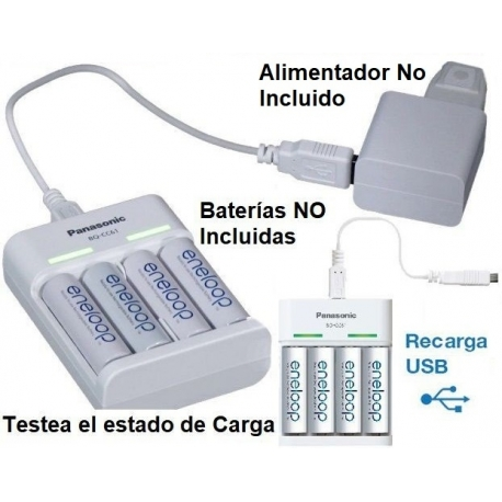 Multi-Cargador Eneloop Panasonic de Baterias AA/AAA Ni-Cd-NiMh