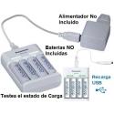 Multi-Cargador Eneloop Panasonic de 4 Baterias AA/AAA Ni-Cd-NiMh