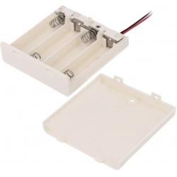 Porta Pilas y Baterías 4xAA, LR06, R6, 14500 con Tapa Interruptor