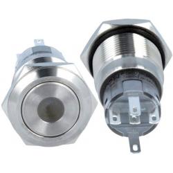 Pulsadores conmutados de panel Antivandalo con Led punto 19mm 1C