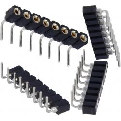 Tira de postes (Pin torneado) hembra 2.54mm Acodado