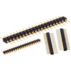 Tiras de Pin Macho Torneado Recto Dorado 2.54mm