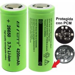 Batería de Litio 26650 4.200mA 3.7v Protegida Brett