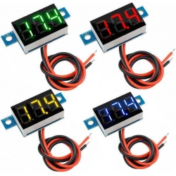 Mini Voltimetros Led 3-17v. de 2 cables de panel 35x14mm