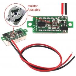 Mini Voltimetros Led 0-30v 2 Cables 22x10mm