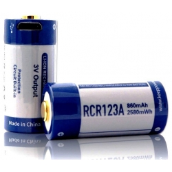 Bateria RCR123 KeepPower 3.0v 860mA USB