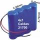 Pack de Baterias 4x1 celdas 21700