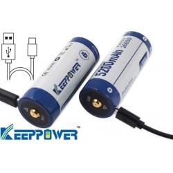 Baterías de Litio 26650 3.7v 5.200mA KeepPower USB Recargable