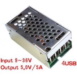 Fuentes de Alimentación 9-36v a 5v. 5A. USB de Chasis