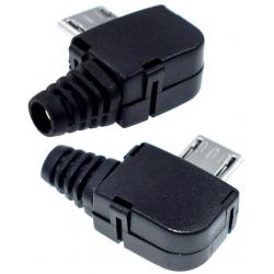 Conector Micro USB A Macho 5 pin Angular Negro