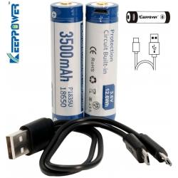 Batería de Litio 18650 3.7v 3.500mA KeepPower USB
