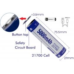 Batería de Litio 21700 3.7v 5.000mA KeepPower USB