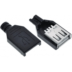 Conector USB Hembra Aéreo 4 pin Negro para Cable