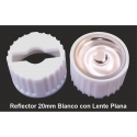 Reflector Blanco con Lente de 20mm Plana Transparentes para Led