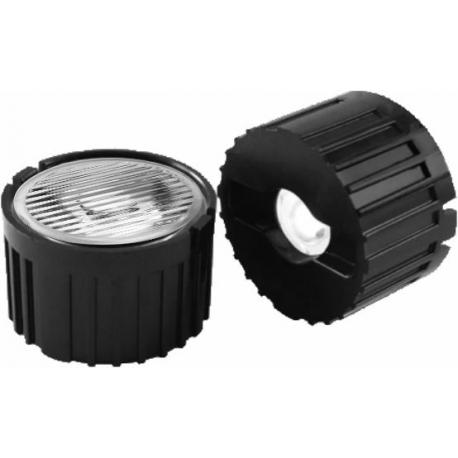 Reflector Negro con Lentes de 20mm Strip-Eliptica para Led Lumiled