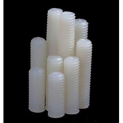 Prisioneros Espárrago allen Nylon M5 Blanco con extremo biselado hueco