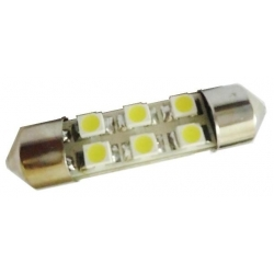 Festoon 6 LED 1210 de 31mm Blanco